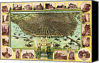 Geography Drawings Canvas Prints - Map Of Saint Louis Canvas Print by Pg Reproductions