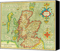 Geography Drawings Canvas Prints - Map of Scotland Canvas Print by Pg Reproductions
