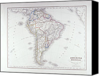 Antique Map Digital Art Canvas Prints - Map Of South America Canvas Print by Fototeca Storica Nazionale