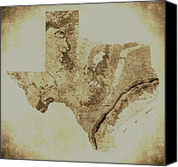 San Antonio Map Digital Art Canvas Prints - Map of Texas in Vintage Canvas Print by Sarah Broadmeadow-Thomas