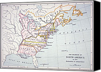 Antique Drawings Canvas Prints - Map of the Colonies of North America at the time of the Declaration of Independence Canvas Print by American School