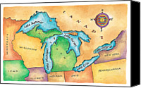 Lake Erie Canvas Prints - Map Of The Great Lakes Canvas Print by Jennifer Thermes
