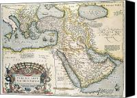 Map Of The Hand Canvas Prints - Map of the Middle East from the Sixteenth Century Canvas Print by Abraham Ortelius