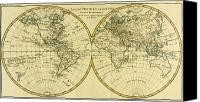 Geography Drawings Canvas Prints - Map of the World in two Hemispheres Canvas Print by Guillaume Raynal