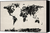 Map Art Digital Art Canvas Prints - Map of the World Map Abstract Canvas Print by Michael Tompsett