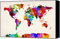 Abstract Tapestries Textiles Canvas Prints - Map of the World Map Abstract Painting Canvas Print by Michael Tompsett