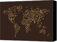 Poster Digital Art Canvas Prints - Map of the World Map Floral Swirls Canvas Print by Michael Tompsett