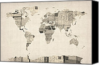 Map Art Digital Art Canvas Prints - Map of the World Map from Old Postcards Canvas Print by Michael Tompsett