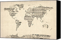 Poster Digital Art Canvas Prints - Map of the World Map from Old Sheet Music Canvas Print by Michael Tompsett