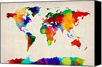 Map Of The World Digital Art Canvas Prints - Map of the World Map Canvas Print by Michael Tompsett