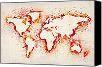Map Art Digital Art Canvas Prints - Map of the World Paint Splashes Canvas Print by Michael Tompsett