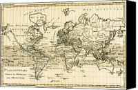 Antique Drawings Canvas Prints - Map of the World using the Mercator Projection Canvas Print by Guillaume Raynal