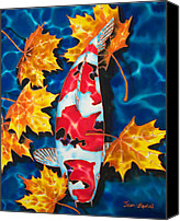 Daniel Jean-baptiste Canvas Prints - Maple Leaves and Koi Canvas Print by Daniel Jean-Baptiste