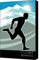 Jogging Canvas Prints - Marathon Runner Canvas Print by Aloysius Patrimonio