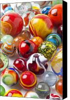 Toys Canvas Prints - Marbles close up Canvas Print by Garry Gay