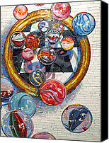 Rome Mixed Media Canvas Prints - MARBLES Game  Canvas Print by Dan Haraga