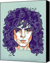 London Drawings Canvas Prints - Marc Bolan Canvas Print by Suzanne Gee