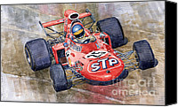 Italia Canvas Prints - March 711 Ford Ronnie Peterson GP Italia 1971 Canvas Print by Yuriy  Shevchuk