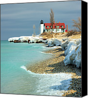 "Lake Michigan Canvas Prints - ""march Thaw""  Point Betsie Lighthouse Canvas Print by John McCormick"