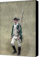 American Revolution Canvas Prints - Marching Loyalist Soldier Revolutionary War Canvas Print by Randy Steele