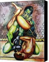 Ultimate Fighting Championship Mixed Media Canvas Prints - Marcus Davis vs. Paul Taylor Canvas Print by Michael Cook