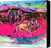 Pink Tapestries - Textiles Canvas Prints - Mare and Foal Canvas Print by Carol Law Conklin