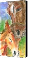 Young Pastels Canvas Prints - Mare and Foal Canvas Print by Mary Armstrong