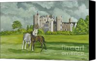 Manor Painting Canvas Prints - Mare And Foal On Castle Grounds Canvas Print by Charlotte Blanchard