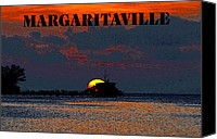 Buffet Digital Art Canvas Prints - Margaritaville Canvas Print by David Lee Thompson