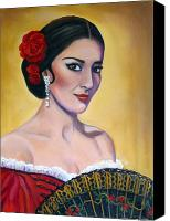 Gold Earrings Canvas Prints - Maria Callas As Carmen Canvas Print by Janet Silkoff