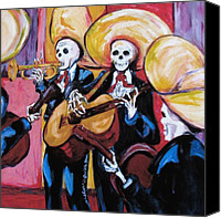 Dia De Los Muertos Canvas Prints - Mariachi III Canvas Print by Sharon Sieben