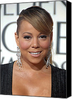 Dangly Earrings Canvas Prints - Mariah Carey Wearing Chopard Earrings Canvas Print by Everett