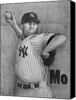 Baseball Drawings Canvas Prints - Mariano Rivera AKA Mr AUTOMATIC Canvas Print by Dan Haraga