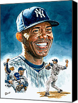 Baseball Painting Canvas Prints - Mariano Canvas Print by Tom Hedderich