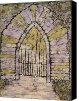 Impressionism Tapestries - Textiles Canvas Prints - Marias Gate Batik Canvas Print by Kristine Allphin