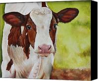 Cow Canvas Prints - Marigold Canvas Print by Laura Carey