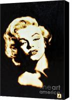 Monroe Pyrography Canvas Prints - Marilyn Canvas Print by Ilaria Andreucci