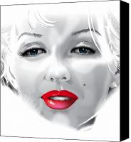 Monroe Mixed Media Canvas Prints - Marilyn Monroe Canvas Print by Brian Gibbs