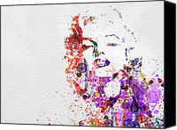 Watercolor Canvas Prints - Marilyn Monroe Canvas Print by Irina  March