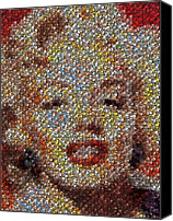 Marylin Canvas Prints - Marilyn Monroe Skull Mosaic Canvas Print by Paul Van Scott