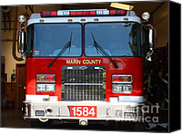 Fire Fighter Canvas Prints - Marin County Fire Department Fire Engine . Point Reyes California . 7D15921 Canvas Print by Wingsdomain Art and Photography