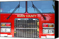 Fire Fighter Canvas Prints - Marin County Fire Department Fire Engine . Point Reyes California . 7D15922 Canvas Print by Wingsdomain Art and Photography