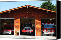 Fire Fighter Canvas Prints - Marin County Fire Department . Point Reyes California . 7D15920 Canvas Print by Wingsdomain Art and Photography