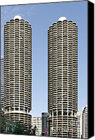 Spiral Canvas Prints - Marina City Chicago - Life in a Corn Cob Canvas Print by Christine Till