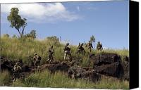 Foot Patrol Canvas Prints - Marines Patrol The Australian Outback Canvas Print by Stocktrek Images