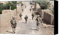 Foot Patrol Canvas Prints - Marines Patrol The Streets Of Iraq Canvas Print by Stocktrek Images