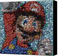 Bottle Caps Canvas Prints - Mario Bottle Cap Mosaic Canvas Print by Paul Van Scott