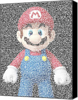 Mario Bros Canvas Prints - Mario Mosaic Canvas Print by Paul Van Scott