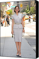 Gray Suit Canvas Prints - Marion Cotillard Wearing A Dior Suit Canvas Print by Everett