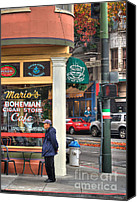 Corner Cafe Canvas Prints - Marios Bohemian Cigar Store Canvas Print by Mars Lasar